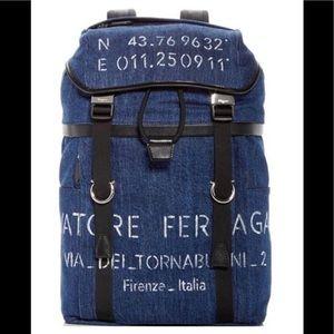 Salvatore Ferragamo Denim Men Blue Backpack